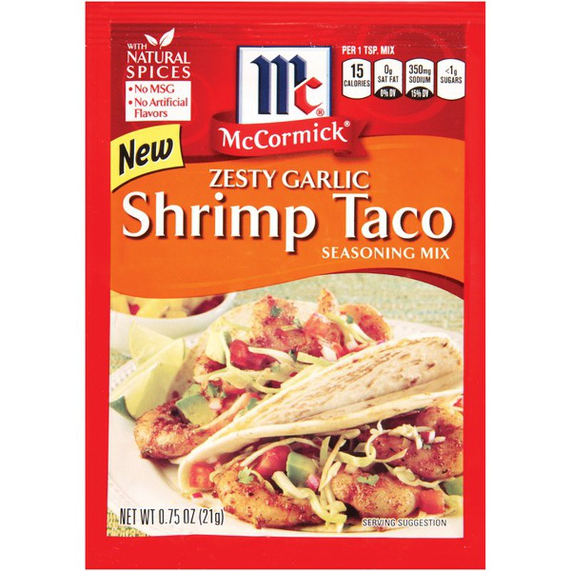 Mccormick Zesty Garlic Shrimp Taco Seasoning Mix 0 75 Oz Instacart