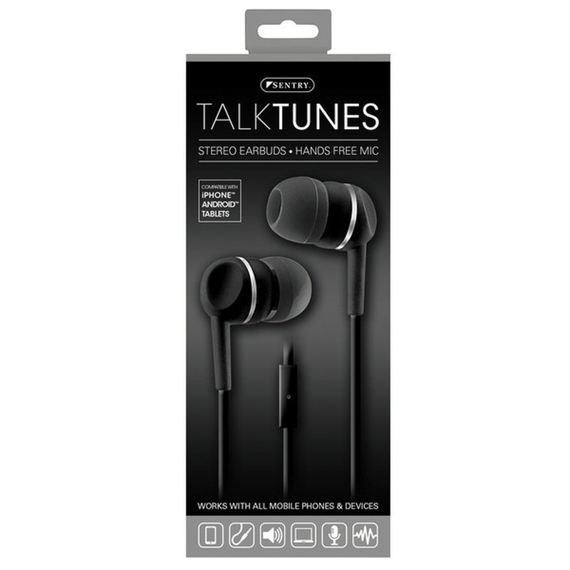 Sentry Pro Talktunes Stereo Earbuds With Hands Free Mic, Black