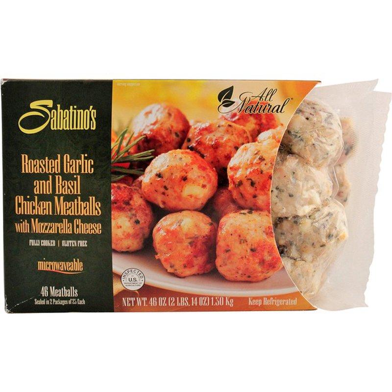 Sabatinos Roasted Garlic & Basil Chicken Meatballs With Mozzarella Cheese