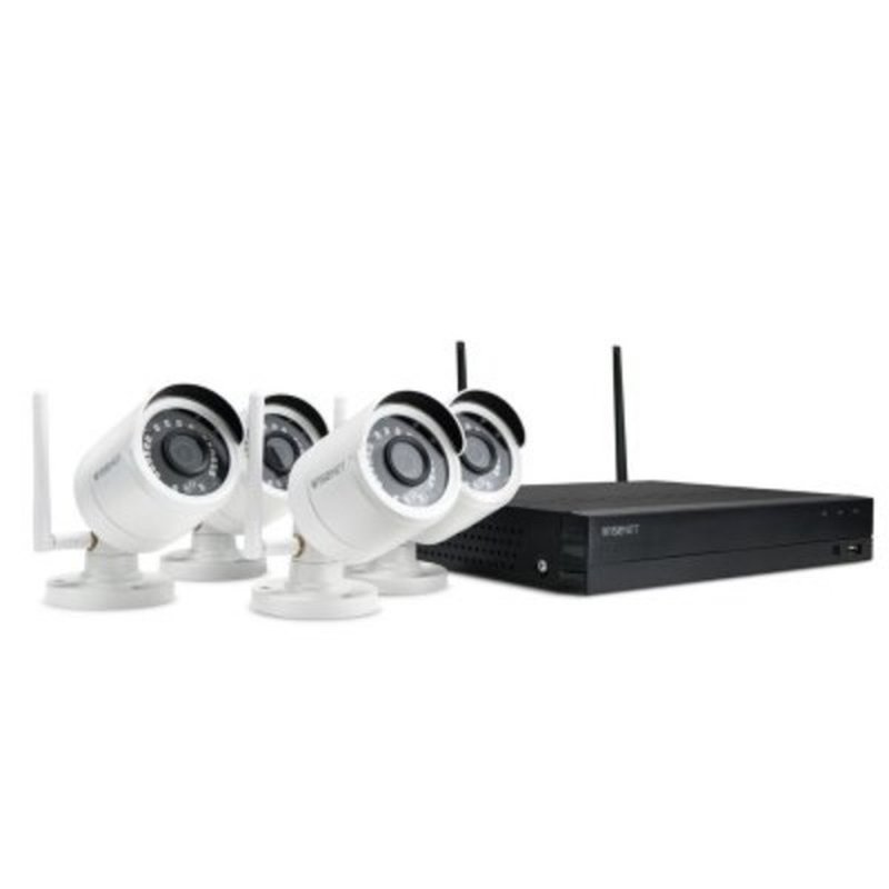 Wisenet 4-Channel Wi-Fi 1080p NVR Surveillance System With 1TB Hard Drive 4-Camera 1080p Dual Antenna Indoor/Outdoor Cameras