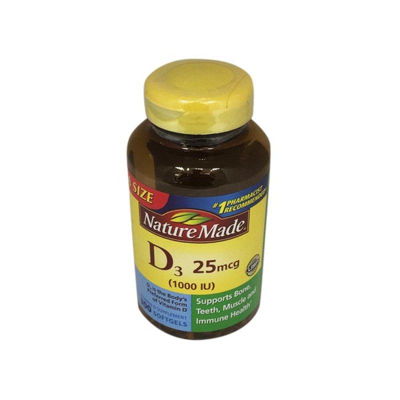 Nature Made Vitamin D3 1000 Iu 25 Mcg Softgels 300 Ct Instacart