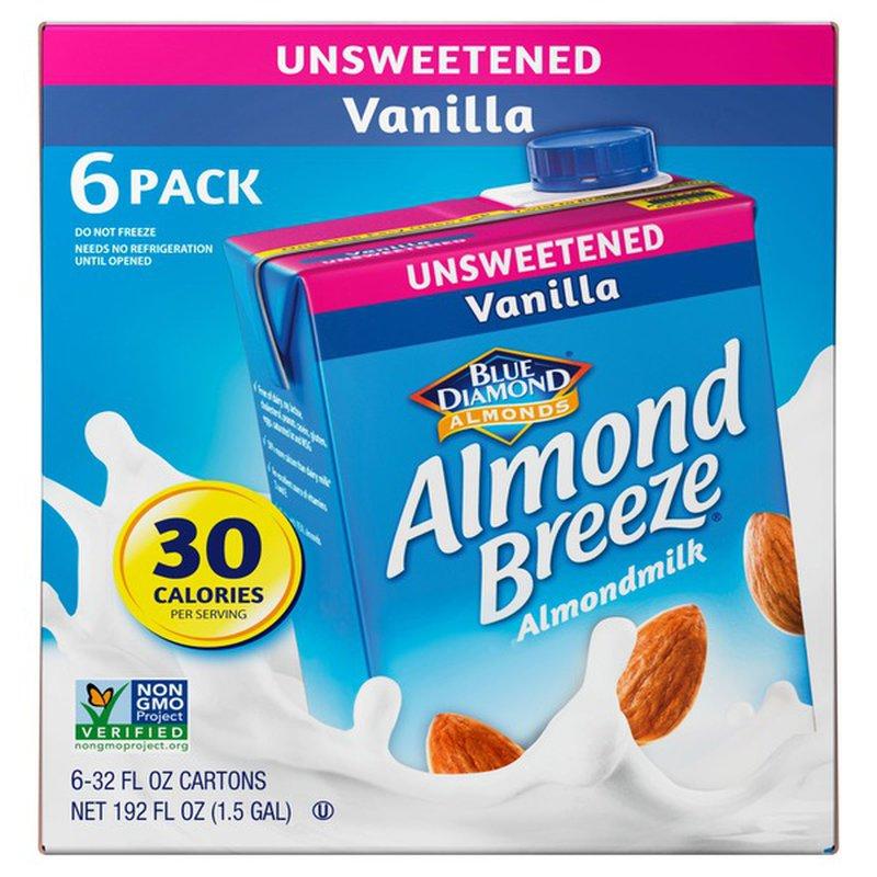 Blue Diamond Unsweetened Almond Milk, 6 x 32 oz
