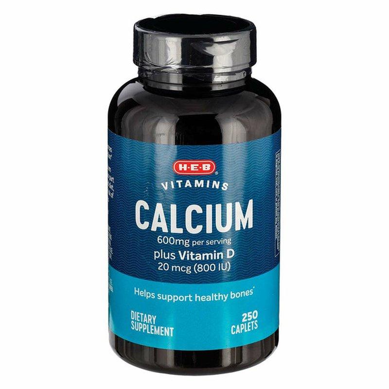 H-E-B Calcium 600mg With Vitamin D Dietary Supplement Bone Health