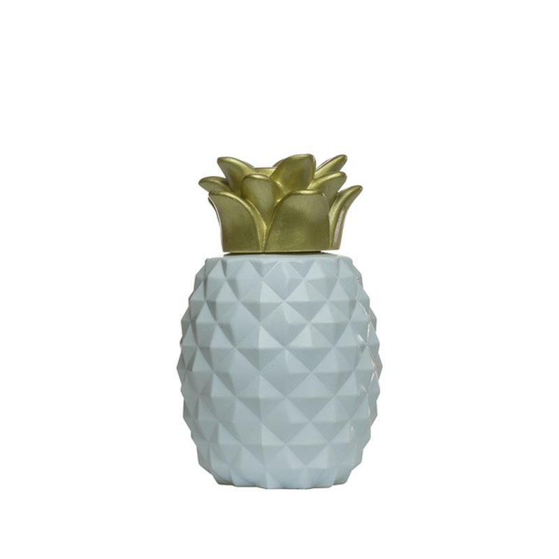 "Tiki 6.5"" White & Gold Pineapple Glass Tabletop Torch"