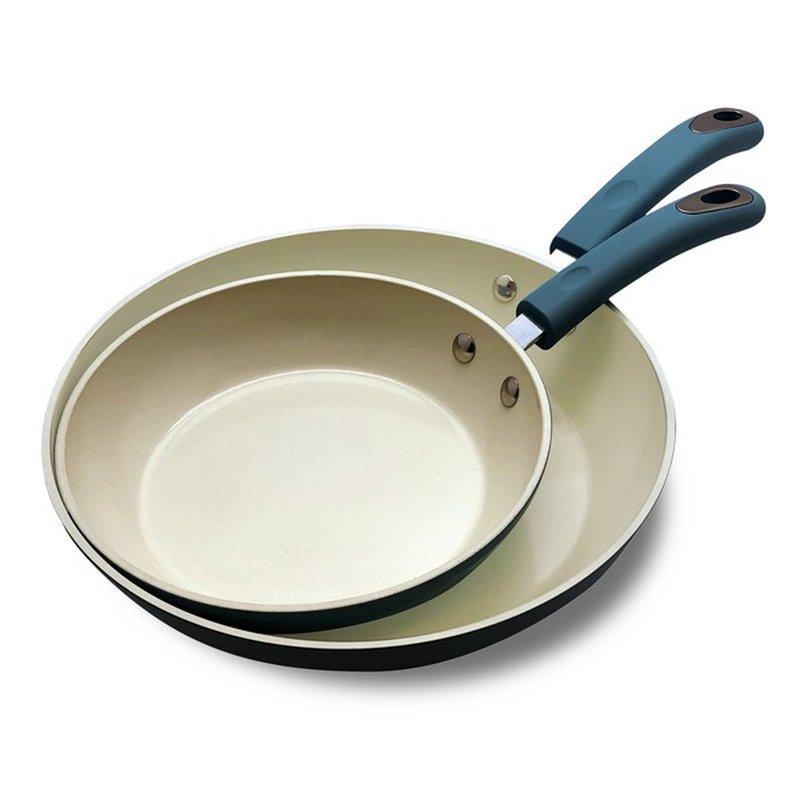 Crofton Turquoise Cream 8 10 Ceramic Nonstick Fry Pan Set Each Instacart