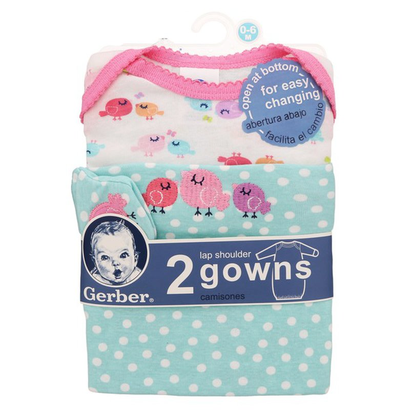Gerber 0-6 Month Aqua & Pink Bird Lap Shoulder Gowns