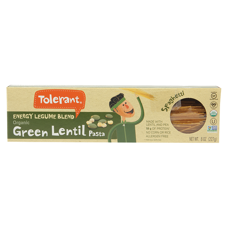 Tolerant Organic Spaghetti Green Lentil Pasta