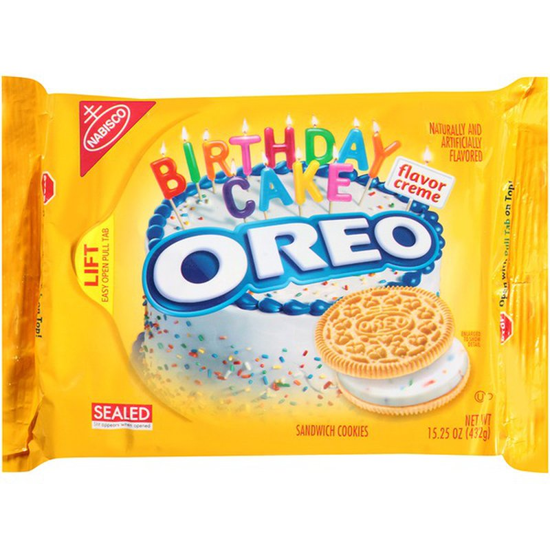 Super Nabisco Oreo Birthday Cake Flavor Creme Golden Sandwich Cookies Funny Birthday Cards Online Elaedamsfinfo