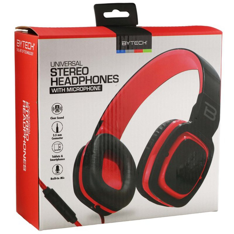 Bytech Black & Red Oval Cushioned Headset With Microphone
