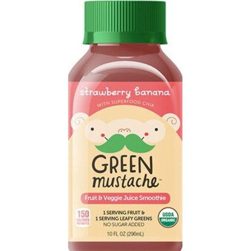 Green Mustache Strawberry Banana Smoothie