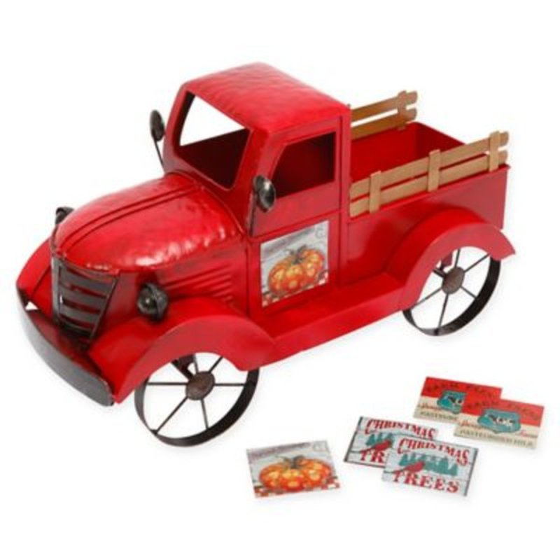 Gerson Company Red Solar Lighted Metal & Wood Antique Truck With 3 Season Magnets