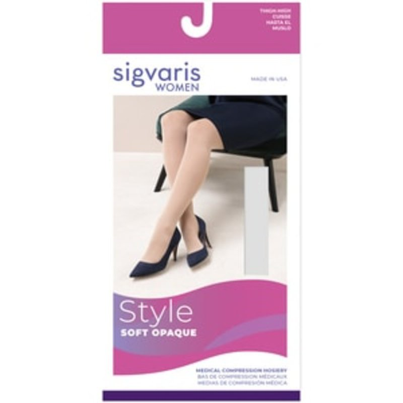 Sigvaris 20-30 mmHg Nude Medium Soft Opaque Women's Open Toe Thigh-High Compression Stockings