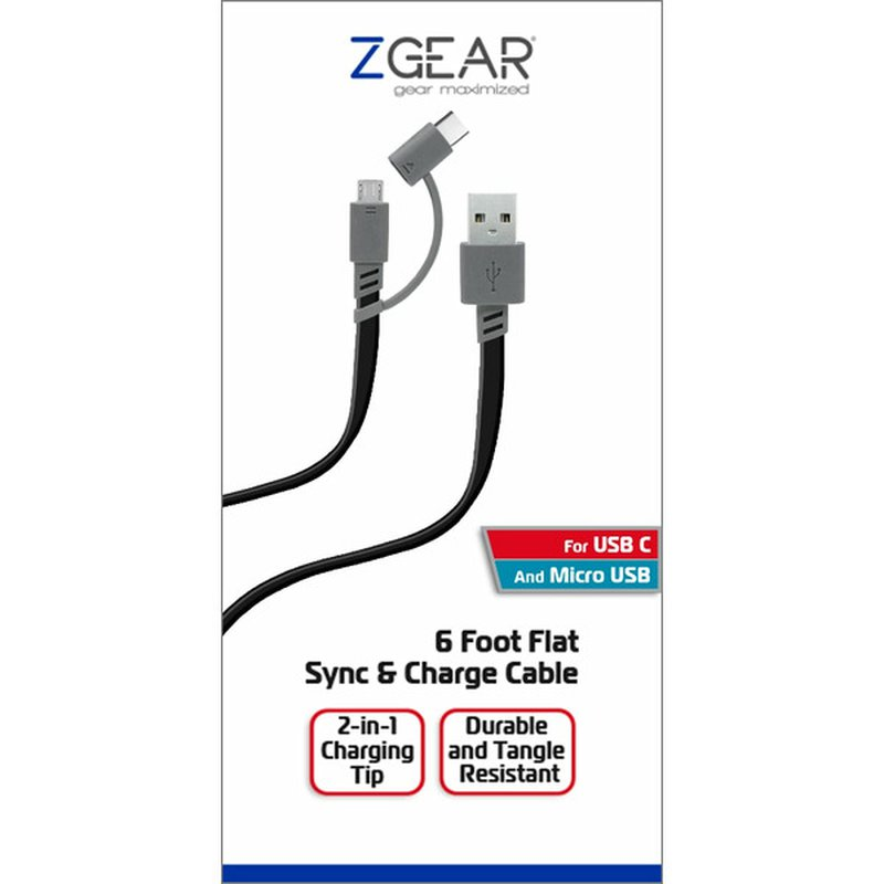 Z Gear 6' Gray Extended Length Sync & Charge Cable for USB Type C & Micro USB