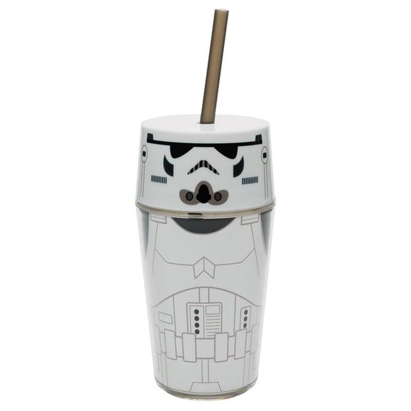 zak! designs 14 Ounce Storm Trooper Tumbler With Straw & Lid Star Wars Cup Insulated
