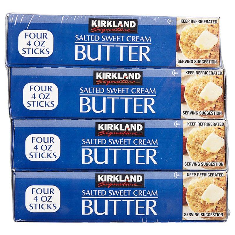Kirkland Signature Salted Butter Quarters, 4 x 1 lb
