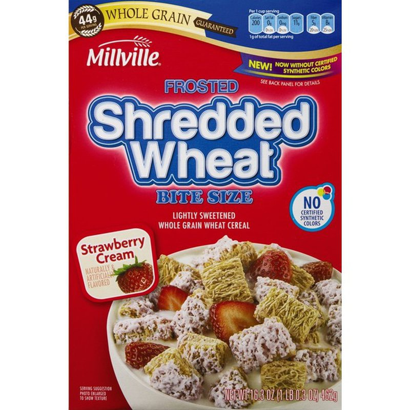 Millville Frosted Shredded Wheat Bite Size Strawberry Cream