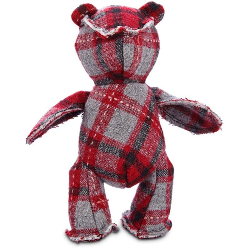 Holiday Small Plaid Bear Plush Dog Toy