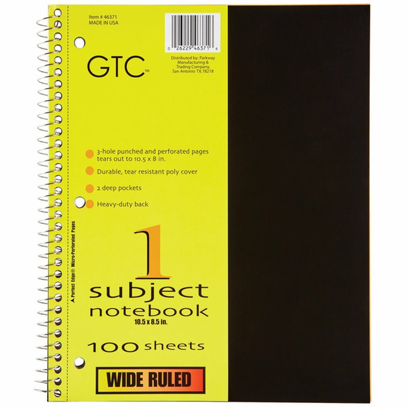 GTC 1 Subject Wide Ruled Notebook 100 Sheets
