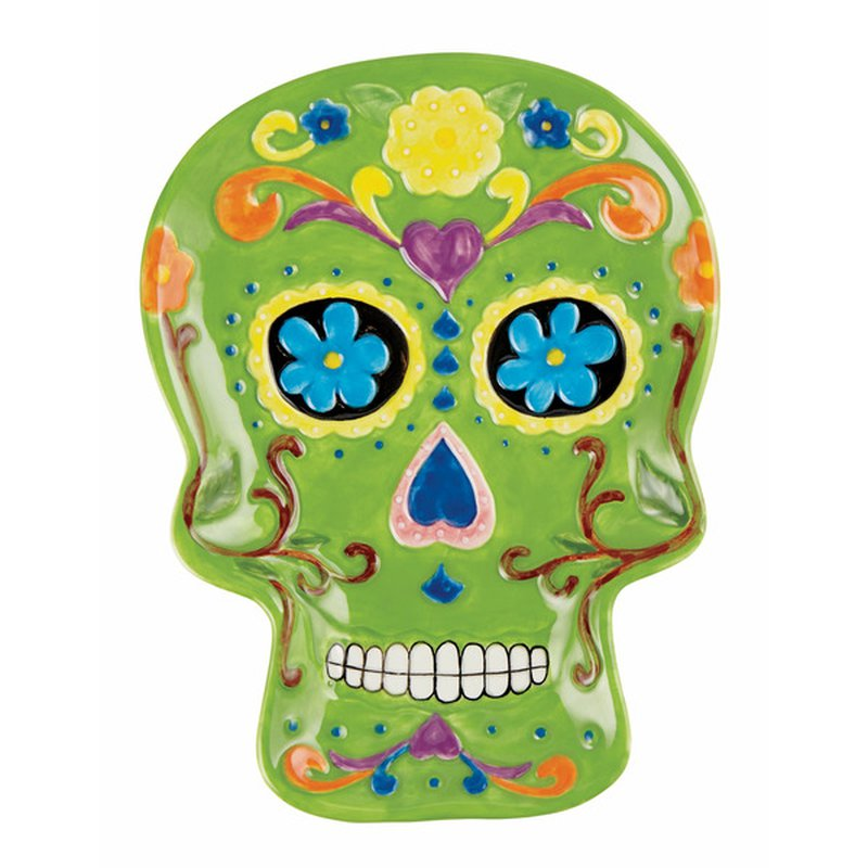 Holiday Market Day of the Dead Ceramic Sugar Skull Candy Plate With Assorted Colors & Designs