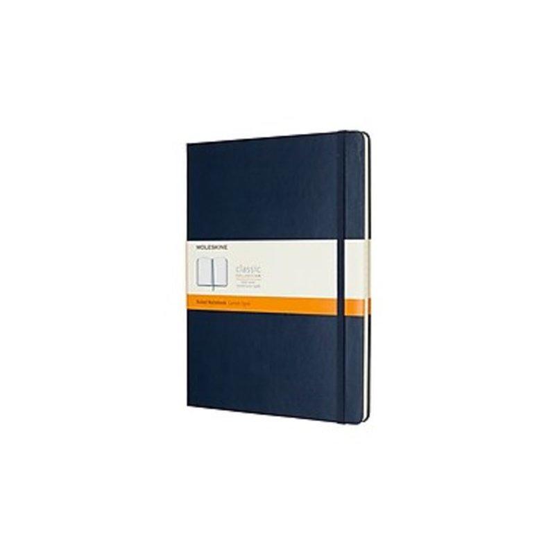 "Moleskine 855129 7.5"" x 9.75"" Wide Ruled 96-Sheet Sapphire Blue Hard Cover Classic Professional Notebook"