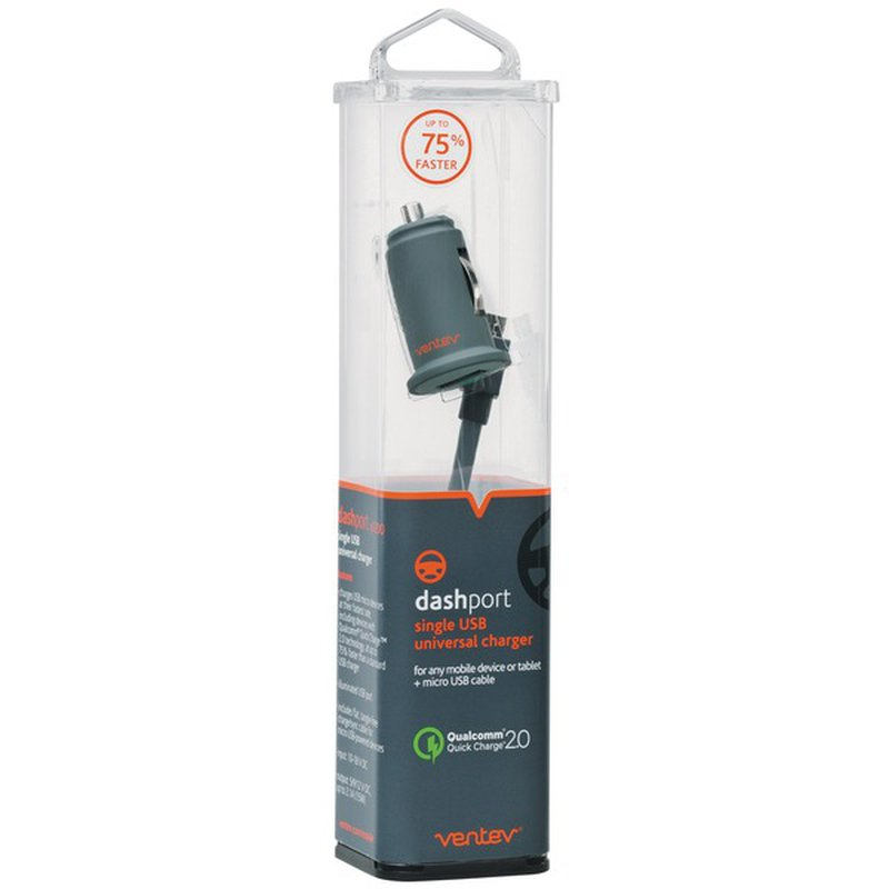 Ventev Dashport Single Usb Universal Charger With Micro Cable