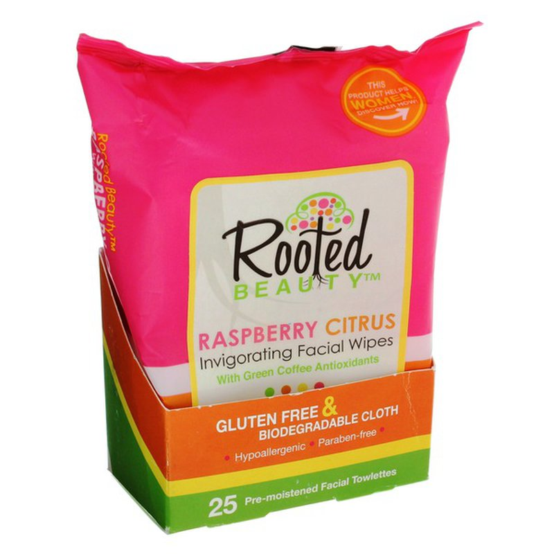 Rooted Beauty Raspberry Citrus Facial Wipes
