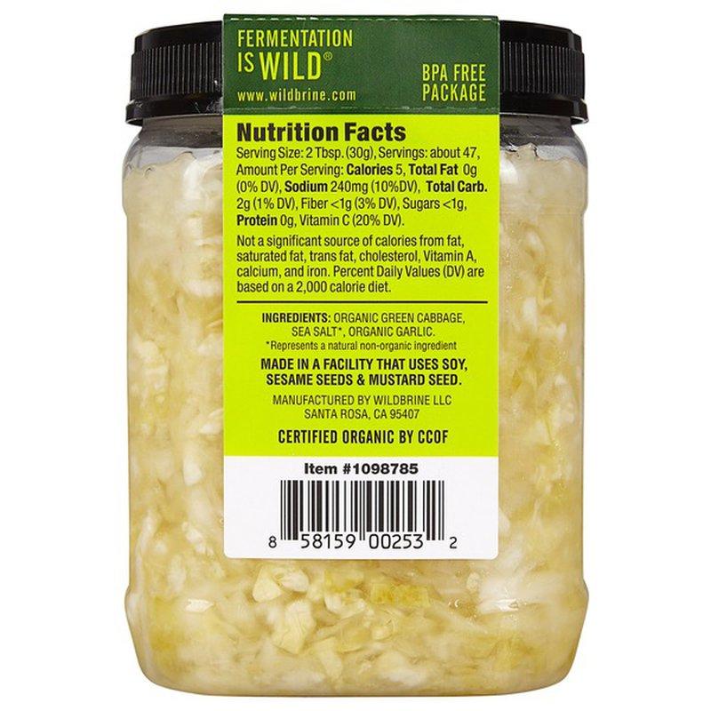 Wildbrine Organic Raw Geen Sauerkraut, 50 oz