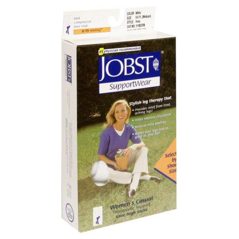 Jobst Support Wear Women's Casual Knee High White Socks Medium (7 9)