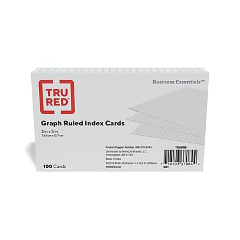 """Oxford 3"""" x 5"""" Quad Ruled White Index Cards"""