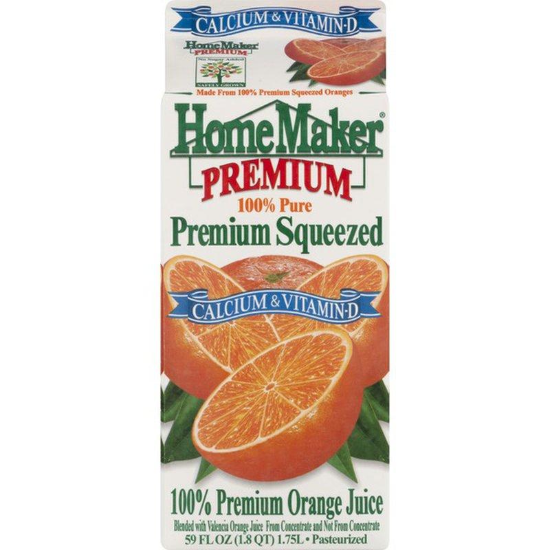 Home Maker Homemaker 100 Juice Premium Squeezed Orange Calcium Vitamin D Carton 59 Fl Oz Instacart