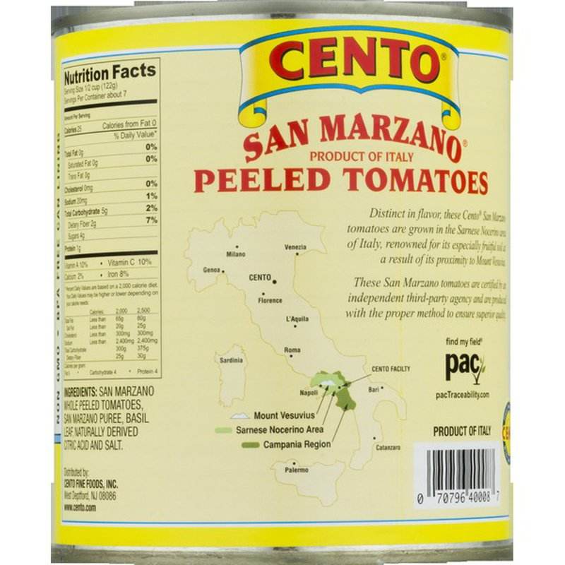 Cento San Marzano Whole Peeled Tomatoes with Basil Leaf, Certified