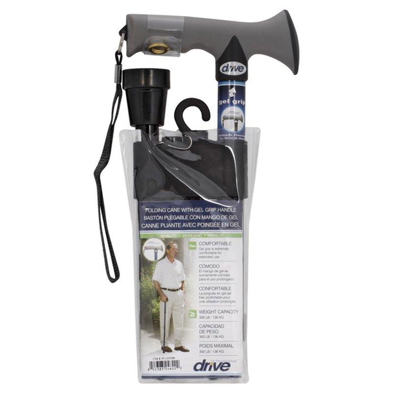 Drive Medical Black Adjustable Lightweight Folding Cane With Gel Hand Grip