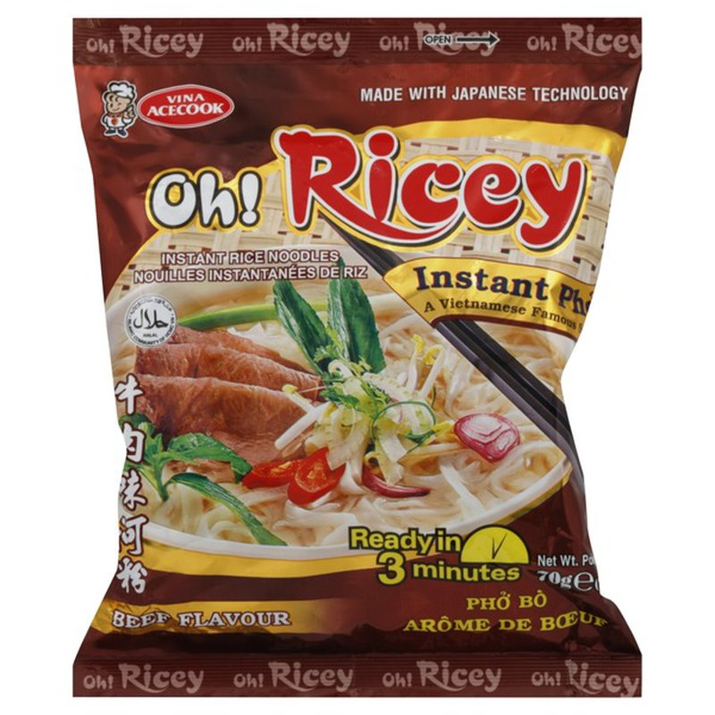 Vina Acecook Oh Ricey Instant Pho Noodles With Beef Flavor