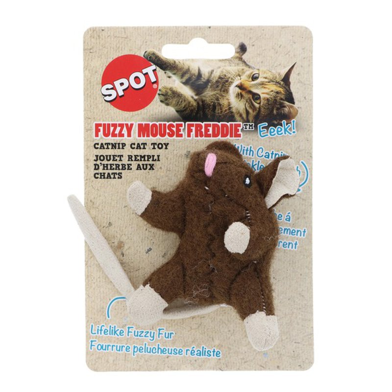 """Spot 3.5"""" Wool Mouse Cat Toy With Catnip"""