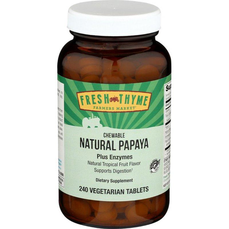 Fresh Thyme Natural Papaya Digestive Enzymes Tablets