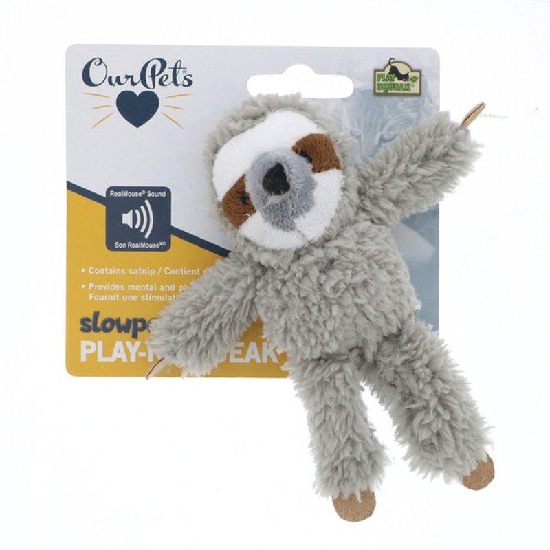 Our Pet's Slowpoke Play-N-Squeak Plush Sloth Catnip Cat Toy