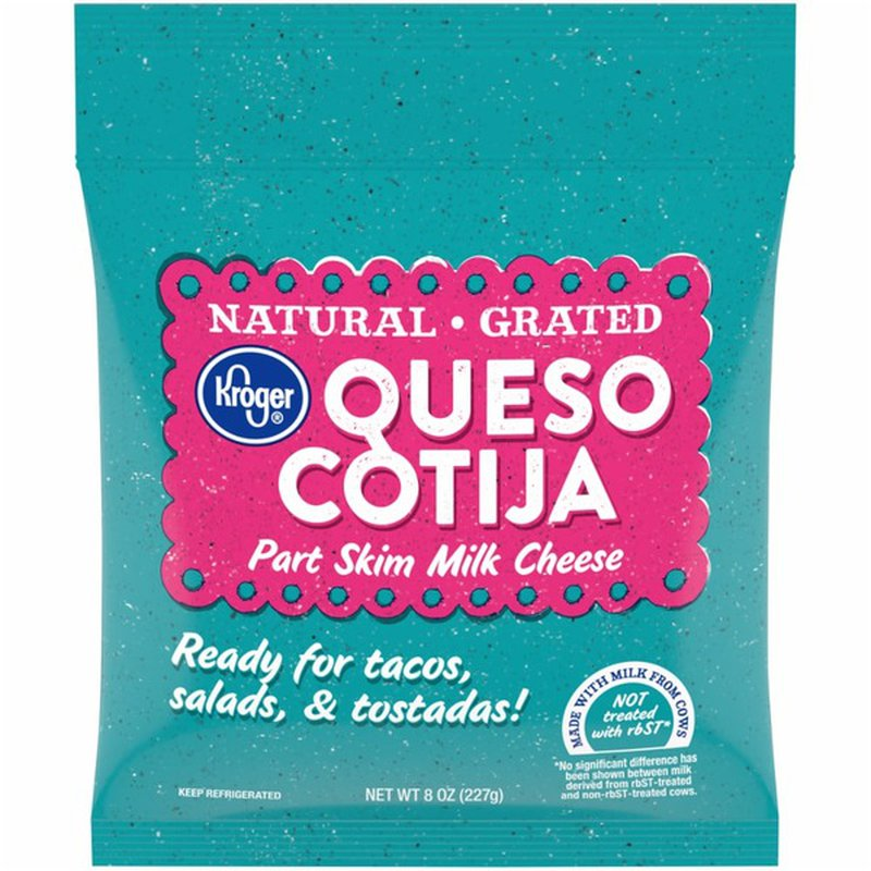 Kroger Queso Cotija Natural Grated Part Skim Milk Cheese