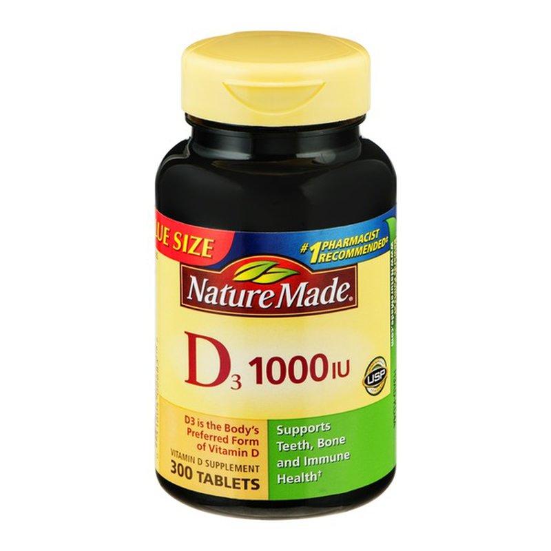 Nature Made Vitamin D3 1000 Iu 25 Mcg Tablets 300 Ct Instacart