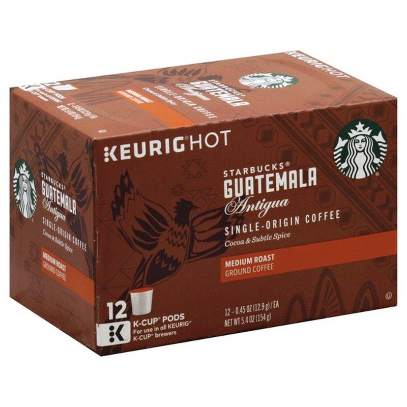 Starbucks Coffee Ground Medium Roast Guatemala Antigua K Cup Pods 12 Each Instacart