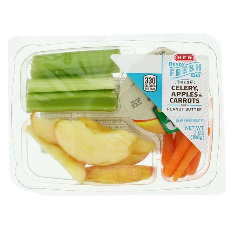 H-E-B Ready, Fresh, Go! Celery, Apples & Carrots Snack Tray