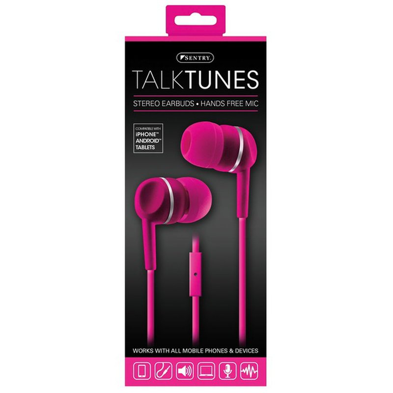 Sentry Pro Pink Talktunes Stereo Earbuds With Hands Free Mic