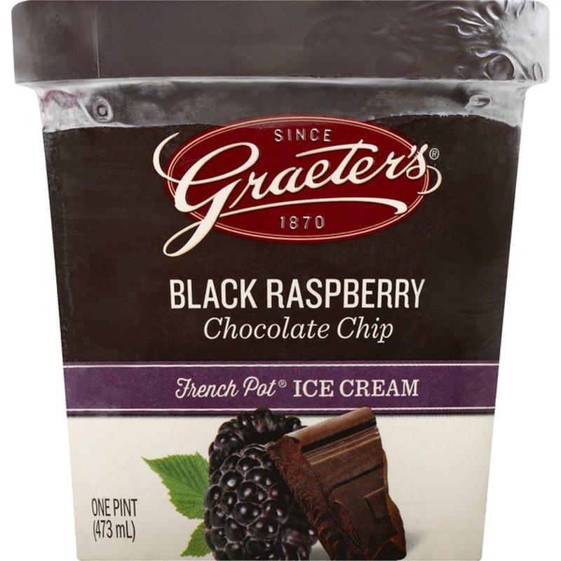 Graeter's Ice Cream, Black Raspberry Chocolate Chip, French Pot
