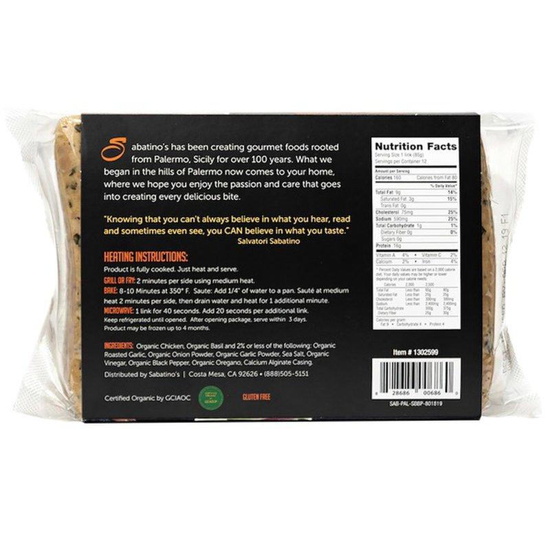 Sabatino's Paleo Organic Sweet Basil Chicken Sausage, 36 oz