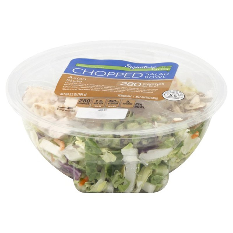 Signature Farms Asian Style Chicken Vegetable Blend, White Meat Chicken, Roasted Edamame, Wonton Strips, Almonds, Sunflower Kernels, And Sesame Ginger Miso Dressing Salad Cafe Bowl