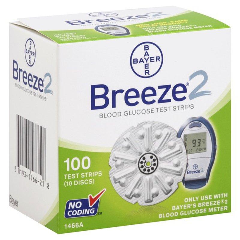 Bayer Breeze 2 Blood Glucose Test Strips (10 Disks)