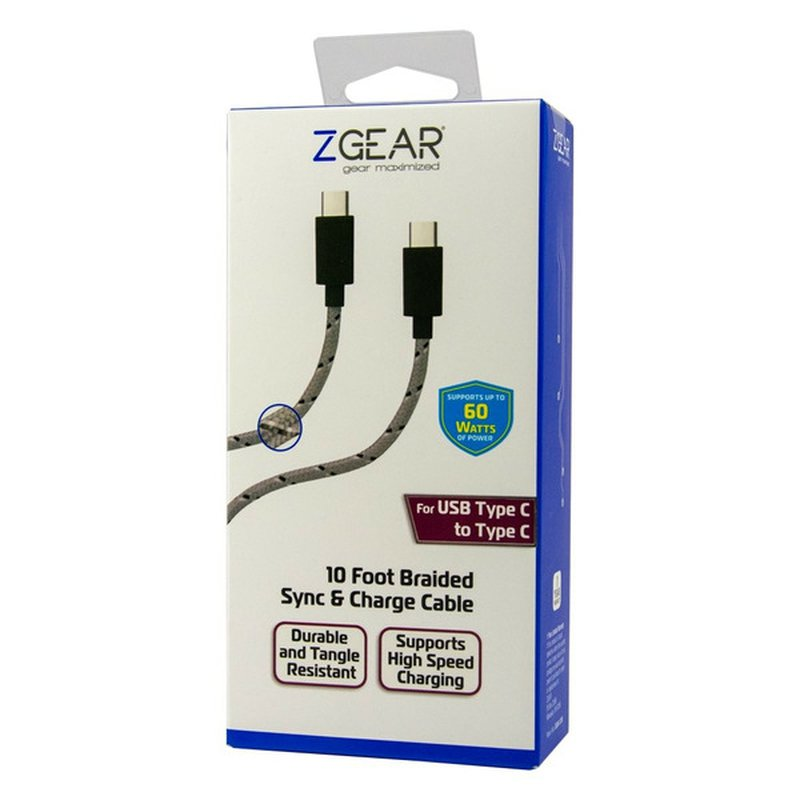 ZGear 10' Gray & Black USB-C to USB-C Braided Cable