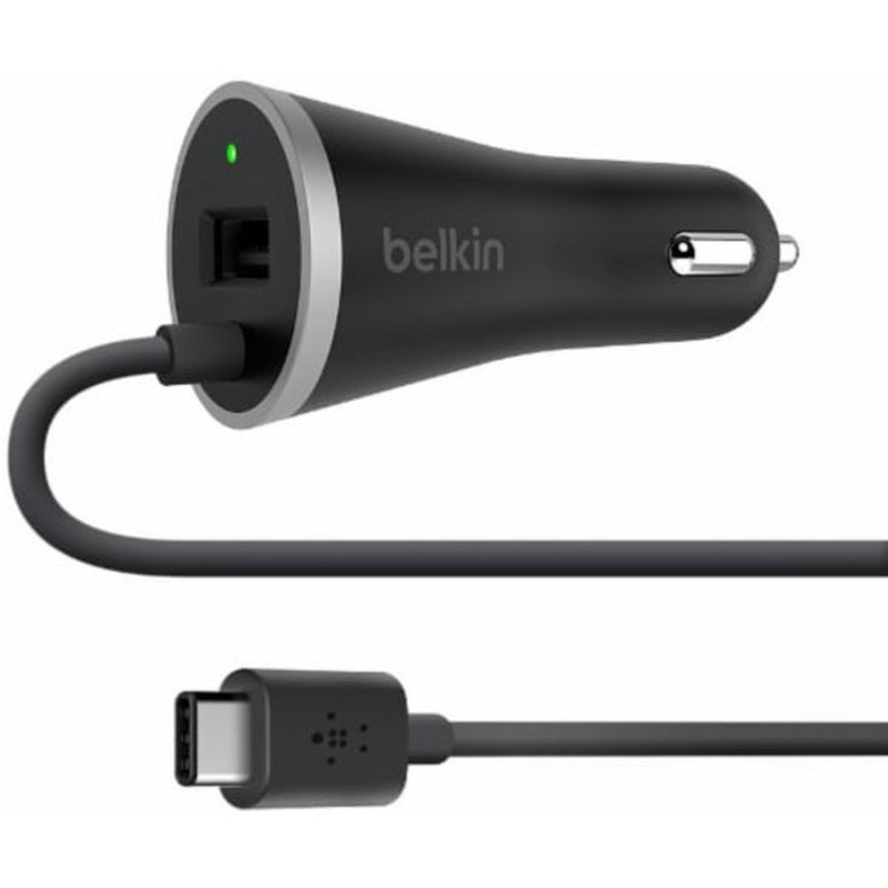 Belkin Black Usb C Car Charger With Hardwired Usb C Cable & Usb A Port Car Cahrger