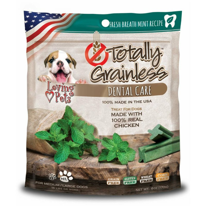 Loving Pets Products Chicken With Fresh Mint Totally Grainless Dental Bones For Large Dogs