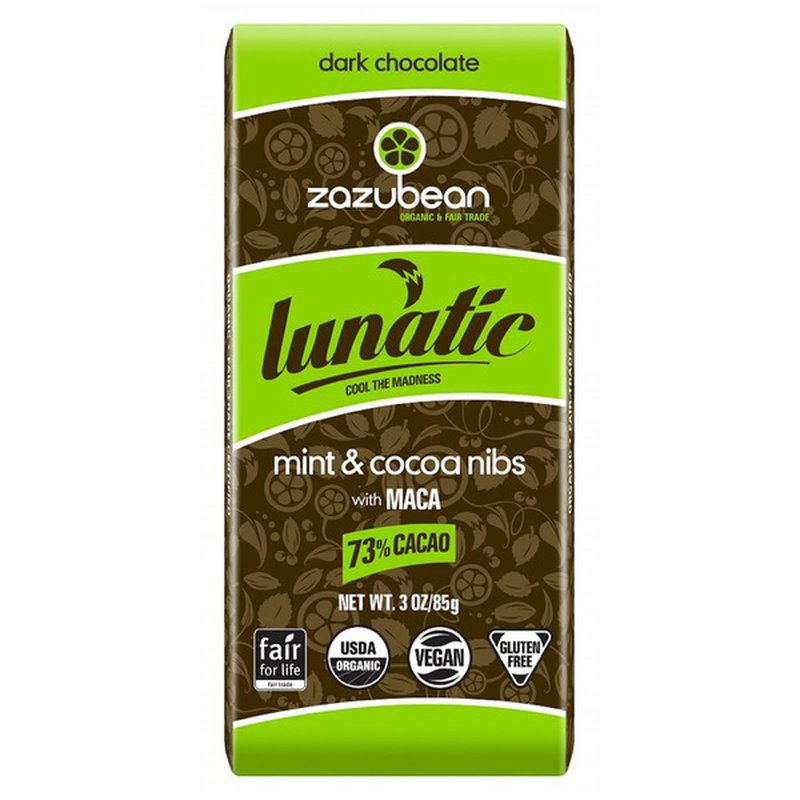 Zazubean Organic Dark Chocolate Mint Nibs Bar
