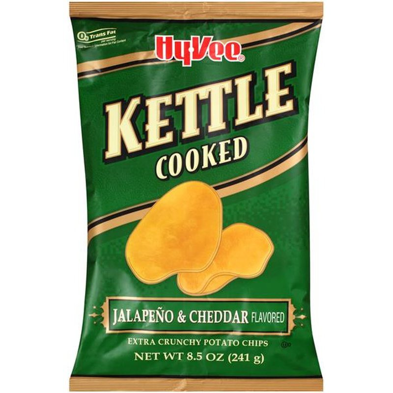 Hy-Vee Kettle Cooked Jalapeno & Cheddar Flavored Extra Crunchy Potato Chips